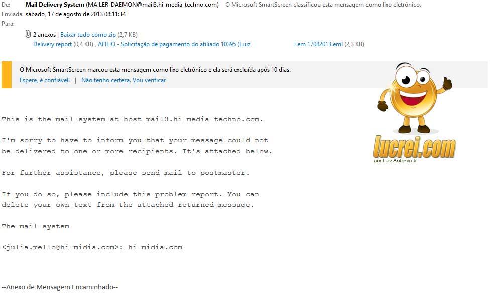 Email não enviado para o pagamento