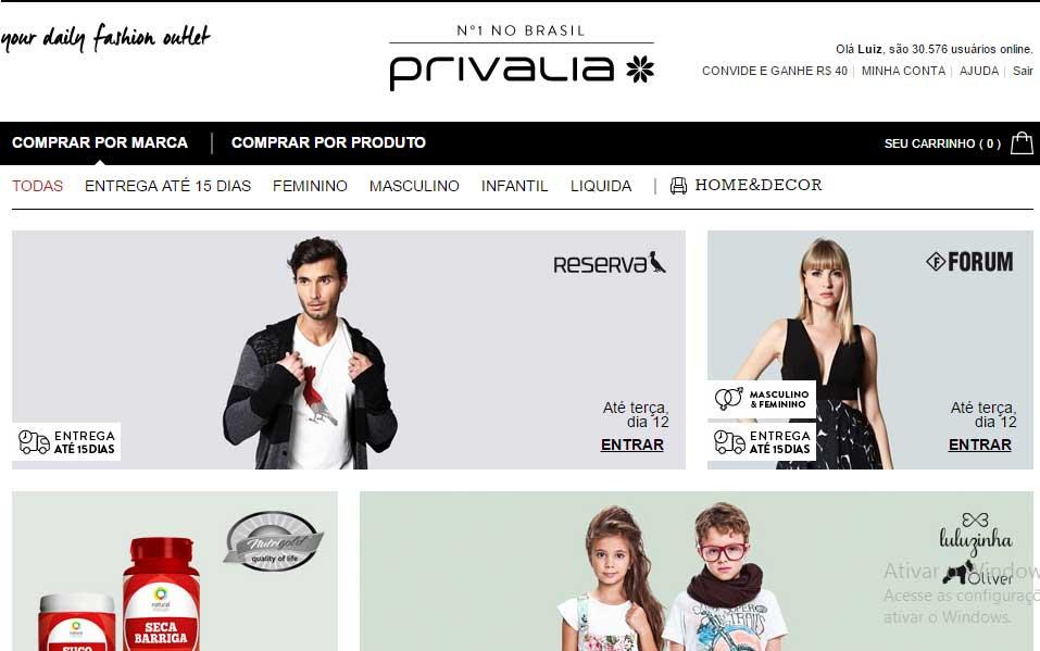 Site da loja virtual privália